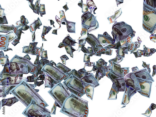 Fotografía  New one hundred dollars banknotes falling on the floor 3d render on white backgr