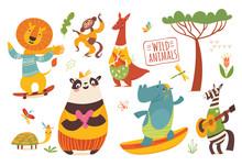 Big Set Of Cartoon Wild Forest...