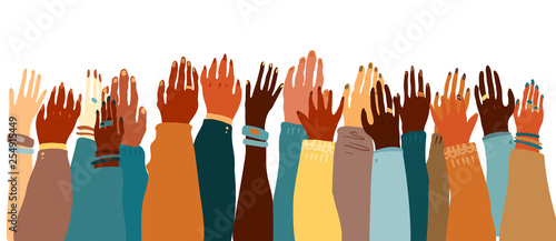 Fotografía Illustration of a people's hands with different skin color together facing up
