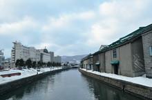 Ancient Warehouse On Otaru Canal Old Port Town And Landmark In Hokkaido Japan