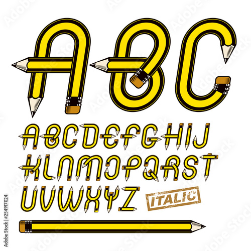 Set Of Vector Upper Case English Alphabet Letters Isolated