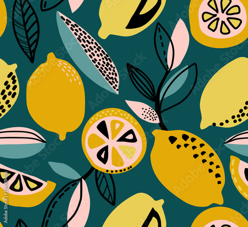 Vector seamless pattern with yellow lemons, branches, absdtact textures - 254919408