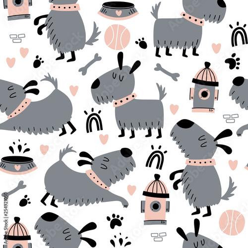 fototapeta na lodówkę Seamless pattern with cute dogs