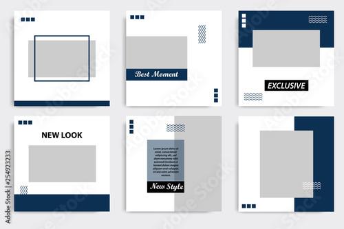 Fotografie, Obraz Editable square Memphis geometric banner template