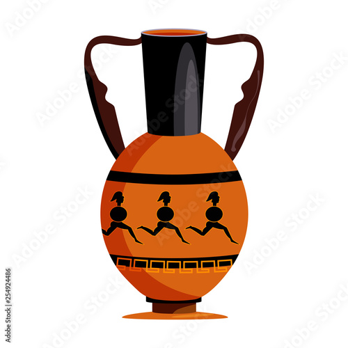 Clay vase with Spartans flat icon Wallpaper Mural