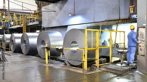 Fotografie, Obraz industrial plant for the production of sheet metal in a steel mill
