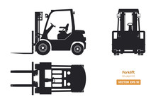 Black Silhouette Of Forklift. Top, Side And Front View. Hydraulic Machinery Blueprint. Industrial Isolated Loader. Diesel Vehicle Drawing