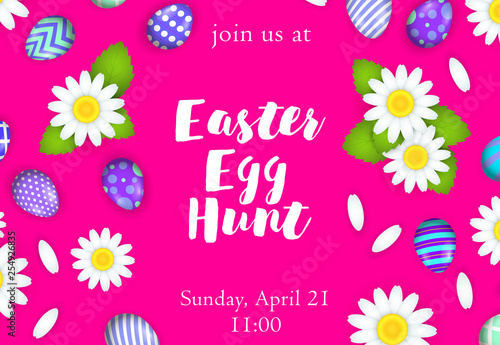 Photo  Easter egg hunt lettering with flowers and eggs