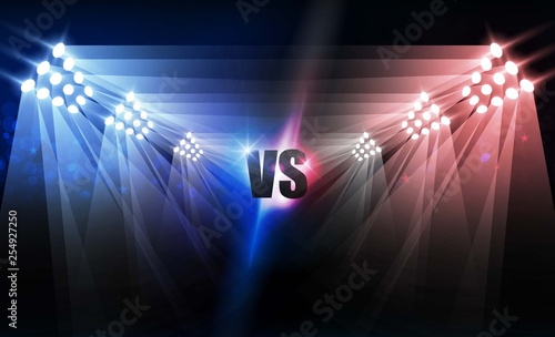 Bright stadium arena lights VS red blue vector design Wallpaper Mural