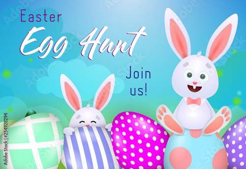 Photo  Egg Hunt lettering with funny rabbits and decorated eggs