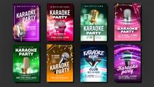 Karaoke Poster Set Vector. Vintage Studio. Musical Record. Broadcast Object. Luxury Emblem. Audio Element. Style. Realistic Illustration