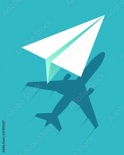 Paper plane flying and casts shadow big airliner. Business concept. Vector illustration