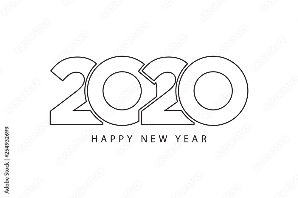 Fototapeta Simple style lines happy new year 2020 black white theme