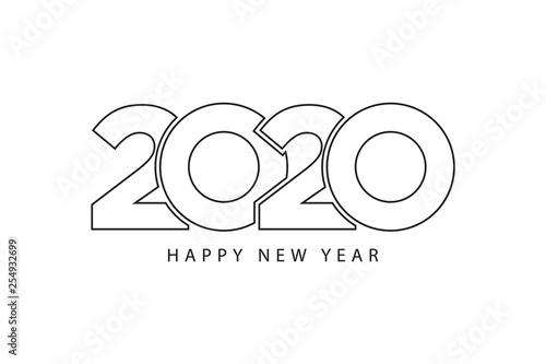 Obraz Simple style lines happy new year 2020 black white theme - fototapety do salonu