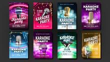 Karaoke Poster Set Vector. Mic...