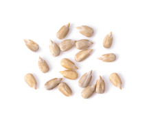 Peeled Sunflower Seeds Isolated On White Background. Top View