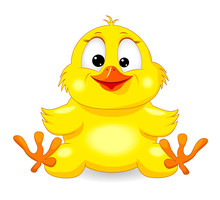 Small Yellow Chick. Little Yellow Chick On A White Background. Cartoon Chick