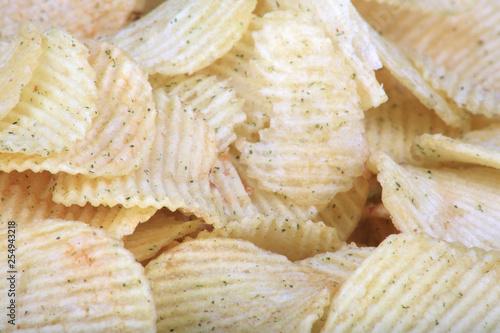 Fotografia, Obraz  many of potato chips horizontal texture