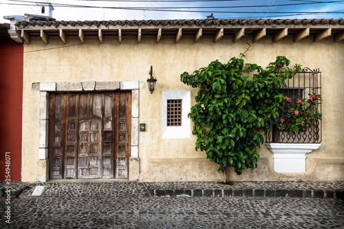 Fotografía  Traditional collonial house with tree, Antigua, Guatemala