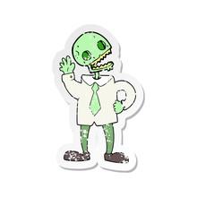 Retro Distressed Sticker Of A Cartoon Zombie Businessman