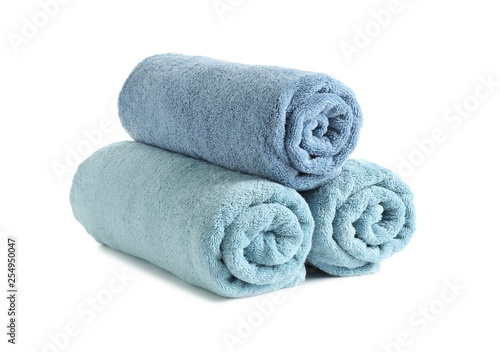 Rolled soft terry towels on white background Canvas-taulu