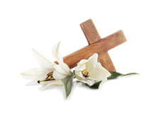 Wooden Cross And Blossom Lilie...