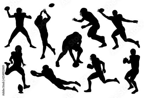 Fototapeta vector set of silhouette american football player obraz