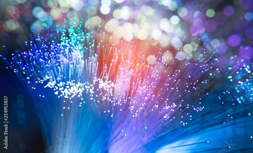 Fotomural  fiber optic showing data or internet communication concept