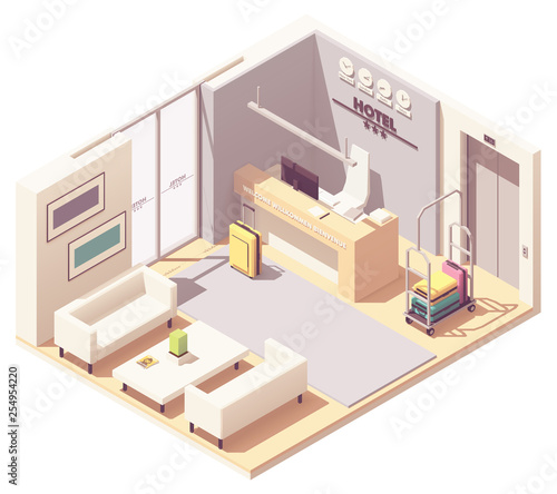 Vector isometric hotel reception