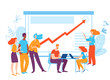 Vector illustration with business people planning business