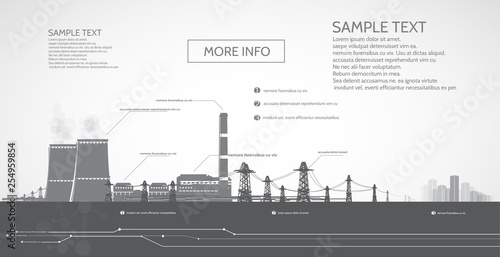 Valokuva  Nuclear power plant, with electric pylons, power supply to the city, infographics