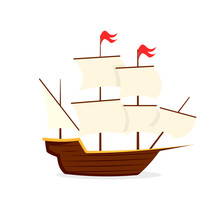 Mayflower Ship Icon. Clipart I...