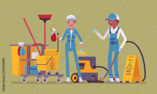 Slika na platnu Janitors team working with professional tools