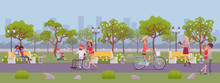 Spring Or Summer Season Park Zone With People. Large Public Garden, Land Area With Green Grass And Trees For Fun And Recreation, Happy Citizens Enjoy Open Air Activities And Walk. Vector Illustration