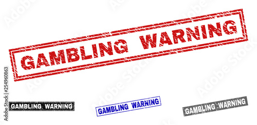Foto  Grunge GAMBLING WARNING rectangle stamp seals isolated on a white background