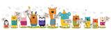 Fototapeta Fototapety na ścianę do pokoju dziecięcego - Vector poster with cartoon funny animals with a transparency with the spring slogan