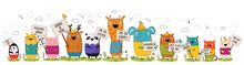 Vector Poster With Cartoon Funny Animals With A Transparency With The Spring Slogan