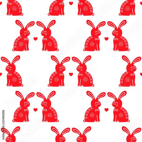 Romantic rabbits in love vector seamless pattern