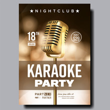 Karaoke Poster Vector. Vintage Karaoke Studio. Musical Record. Broadcast Object. Communication Style. Abstract Template. Rock Fun. Modern Sound. Creative Layout. Audio Element. Realistic Illustration