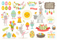 Set Of Vector Cute Easter Cart...