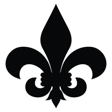 A Black And White Vector Silhouette Of A Fleur-de-lis