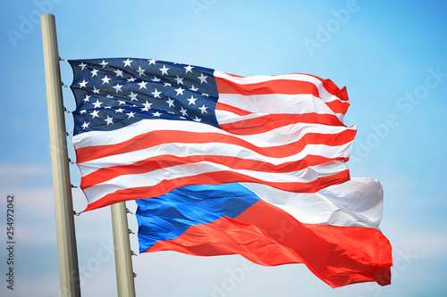 Photo  Flags of the USA and the Czech Republic