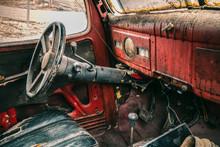 Old Rusty Antique Dodge Truck Dashboard Interior