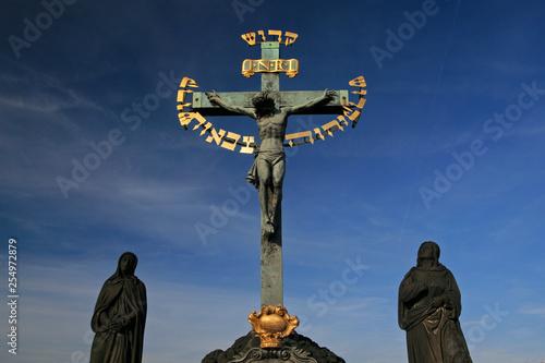 Fotografie, Obraz  Crucifix, Charles Bridge, Prague, Czech Republic