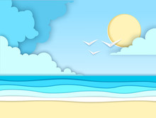 Sea Or Ocean Landscape, Sea Beach Cut Out Paper Art Style Design