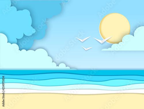 Sea or ocean landscape, sea beach cut out paper art style design