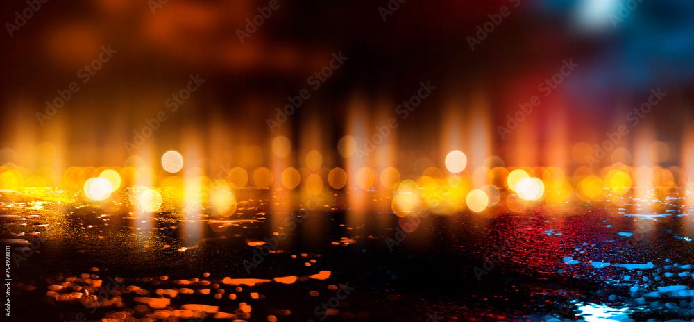 Fototapety, obrazy: Wet asphalt, reflection of neon lights, a searchlight, smoke. Abstract street with smoke, smog. Night background, night city Abstract bokeh light, night bokeh.