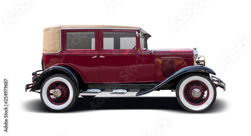 Photo sur Aluminium Vintage voitures Antique car isolated on white