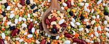 Mixed Dry Uncooked Legumes Full Background, Banner
