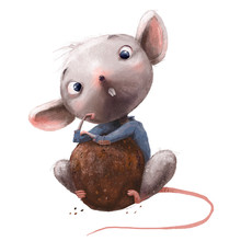 Cute Little Mouse With Chocolate